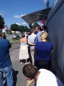 line outside embassy