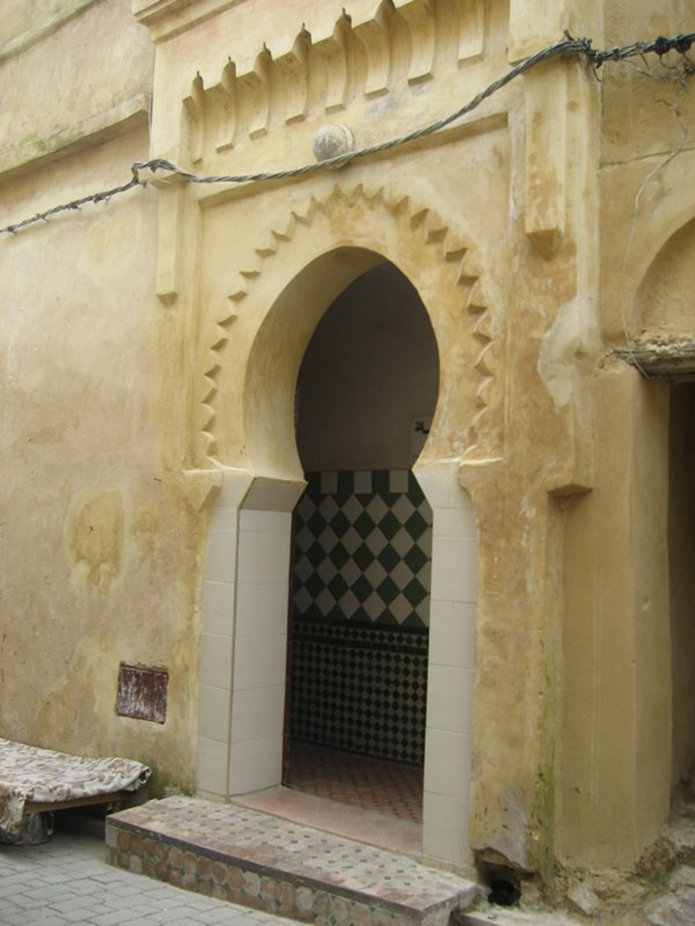 The tiles usually indicate an entrance