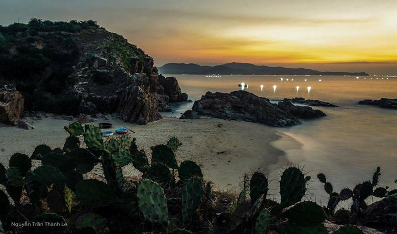 sunrise a red reef beach in phu yen province, vietnam