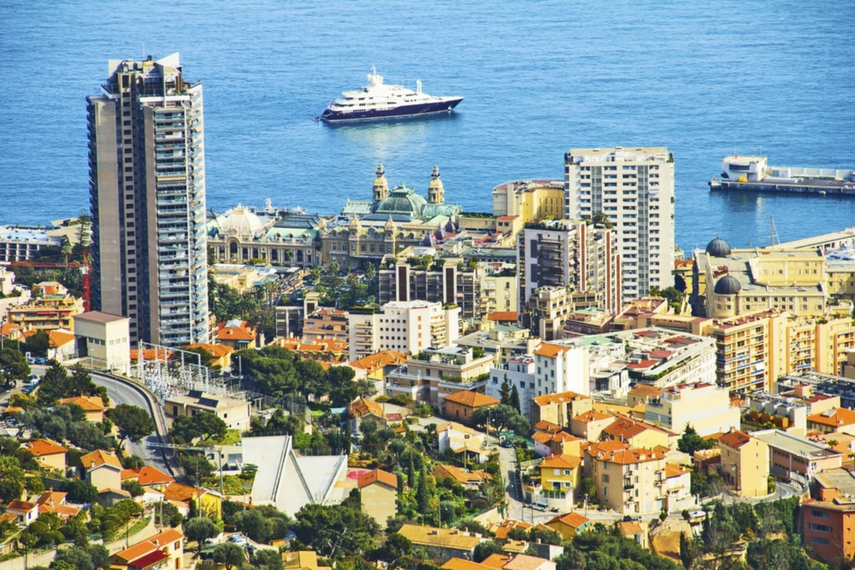 Monaco with monte carlo casino, yachts and beach